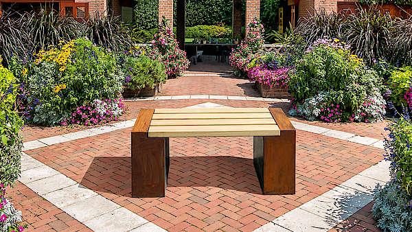 Gartenbank aus Cortenstahl, Sitzbänke